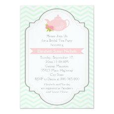 Tea party teapot, chevron pink mint bridal shower 5