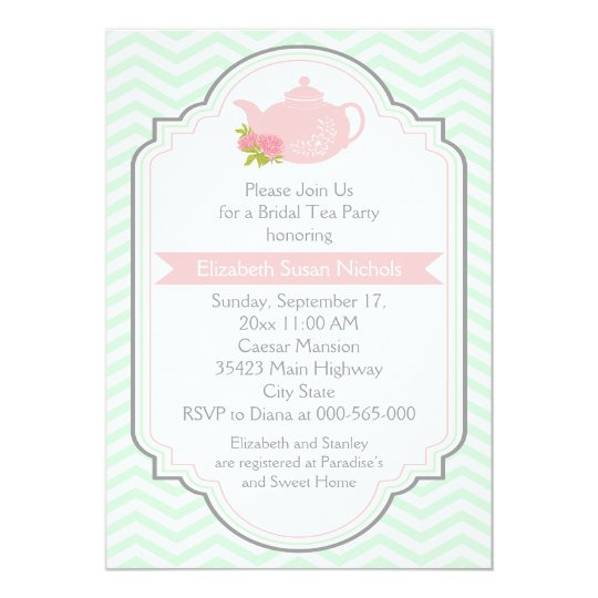 Tea party teapot chevron pink mint bridal shower invitation tea party teapot chevron pink mint bridal shower invitation filmwisefo