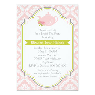 Tea party teapot, damask pink green bridal shower card