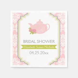 Tea party teapot, damask pink, green wedding napkin