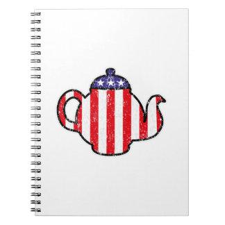 Tea Party Teapot Distressed Logo Notebook