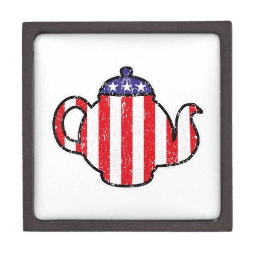 Tea Party Teapot Distressed Logo Premium Keepsake Boxes