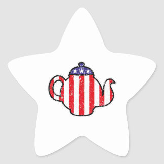 Tea Party Teapot Distressed Logo Star Sticker