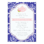 Tea party teapot, lace pink, navy bridal shower 5x7 paper invitation card