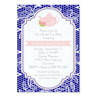 """Tea party teapot, lace pink, navy bridal shower 5"""" x 7"""" invitation card"""