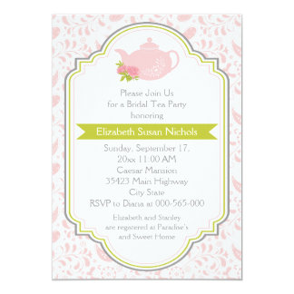 Tea party teapot, paisley pink green bridal shower invites