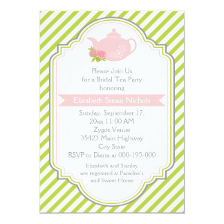 Tea party teapot stripes pink, green bridal shower card