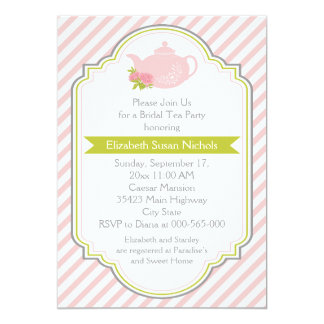 Tea party teapot, stripes pink green bridal shower custom announcements