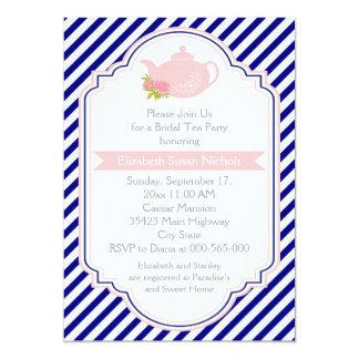 Tea party teapot, stripes pink navy bridal shower card
