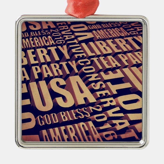 Tea Party Text Metal Ornament