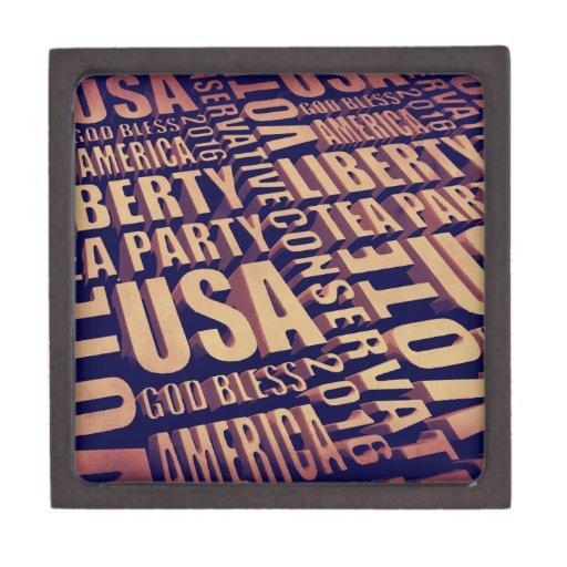 Tea Party Text Premium Keepsake Boxes