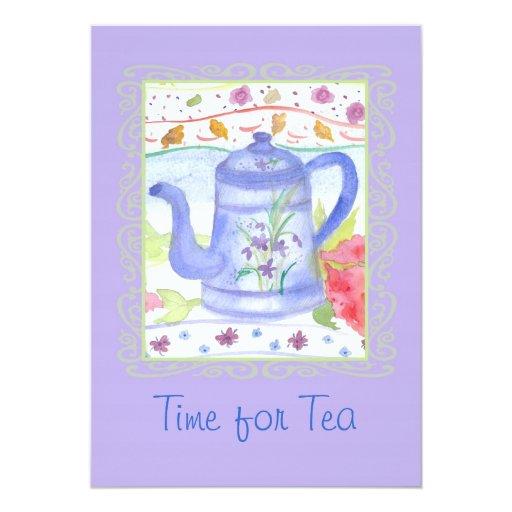 Tea Party Time Vintage Coffee Pot Watercolor Art Card