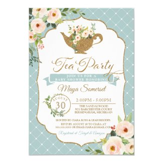 Tea Party Turquoise Blue Blush Floral Baby Shower Invitation