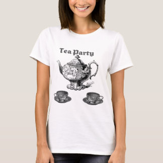 TEA PARTY VINTAGE TEAPOT AND CUPS PRINT T-Shirt