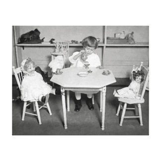 Tea Party with Dolls, 1923 Canvas Print