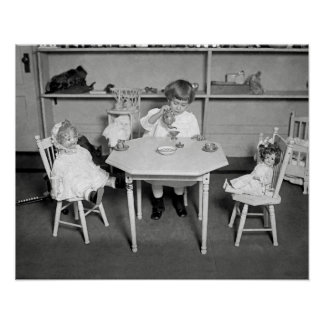 Tea Party with Dolls, 1923. Vintage Photo Poster