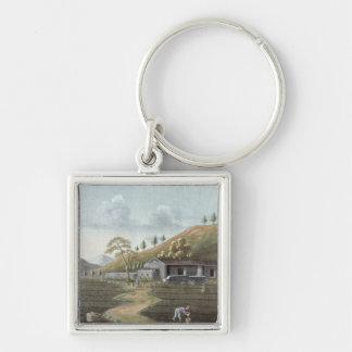 Tea planting (w/c on paper) keychain