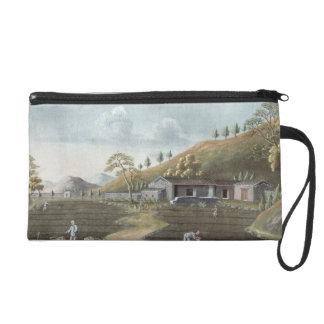 Tea planting (w/c on paper) wristlet purse