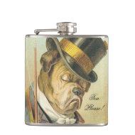 """Tea Please!"" Elegant Vintage Dog Bulldog Hip Flasks"