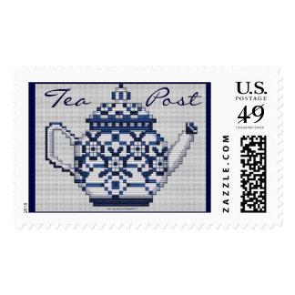TEA POST Cross Stitch Style Tea Pot Design Postage