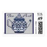 TEA POST Cross Stitch Style Tea Pot Design Postage Stamps