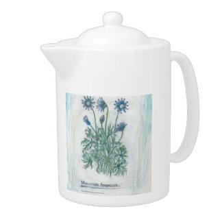 tea pot - 44 oz. ceramic botanical print