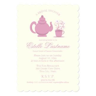 Tea Pot and Daisies Pink Bridal Shower Card