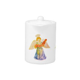 Tea pot : Angel offering flowers