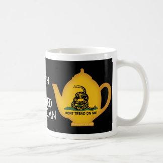 Tea Pot: Born & Brewed American on Black Coffee Mug