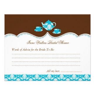 Tea Pot Bridal Shower Advise Card Personalized Invites