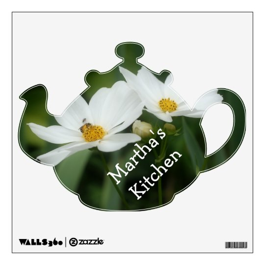 Tea Pot Cosmos Flowers Name Wall Decal