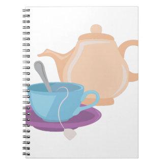 Tea Pot & Cup Spiral Note Books