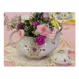 Tea Pot, pink carnations Postcard