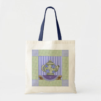 Tea Pot Quilt Block Tote Bag