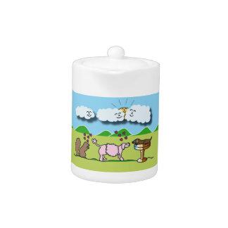 Tea Pot with Cute Animals Illustration
