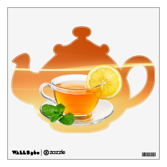 Tea Pot with Lemon and Mint Wall Sticker