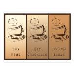 Tea Programa, Hot Chocolate, Coffee break Tarjeta Postal