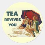 Tea Revives You Round Sticker