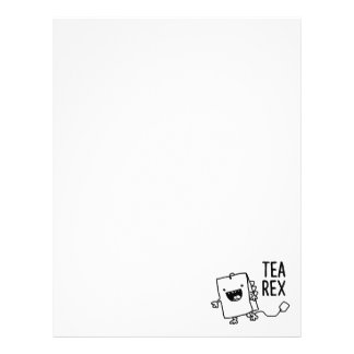 Tea Rex Tea Bag Funny Pun Cartoon Letterhead