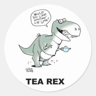 Tea Rex tea shirt card Classic Round Sticker