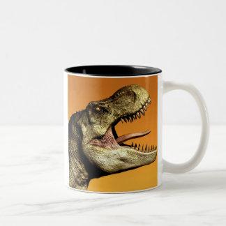 Tea Rex Tyrannosaurus Dinosaur Green Dino Coffee T Two-Tone Coffee Mug