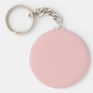 Tea Rose Pink Basic Round Button Keychain