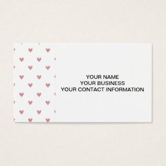 Tea Rose Pink Glitter Hearts Pattern Business Card