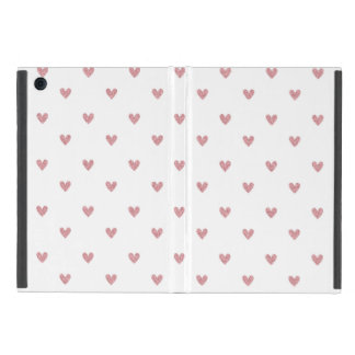 Tea Rose Pink Glitter Hearts Pattern iPad Mini Cover