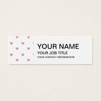 Tea Rose Pink Glitter Hearts Pattern Mini Business Card