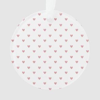 Tea Rose Pink Glitter Hearts Pattern Ornament