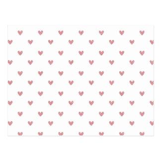 Tea Rose Pink Glitter Hearts Pattern Postcard