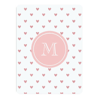 Tea Rose Pink Glitter Hearts with Monogram 6.5x8.75 Paper Invitation Card
