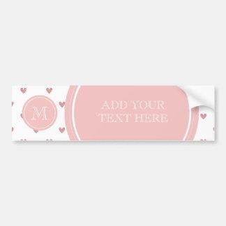 Tea Rose Pink Glitter Hearts with Monogram Bumper Sticker