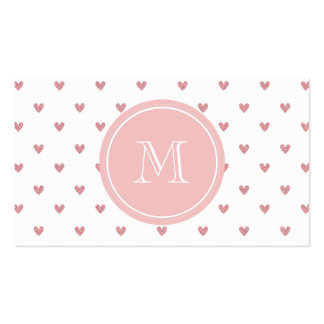 Tea Rose Pink Glitter Hearts with Monogram Business Card Templates
